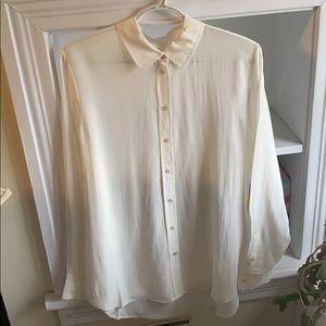 Everlane NWOT 100% silk white button down sz 10